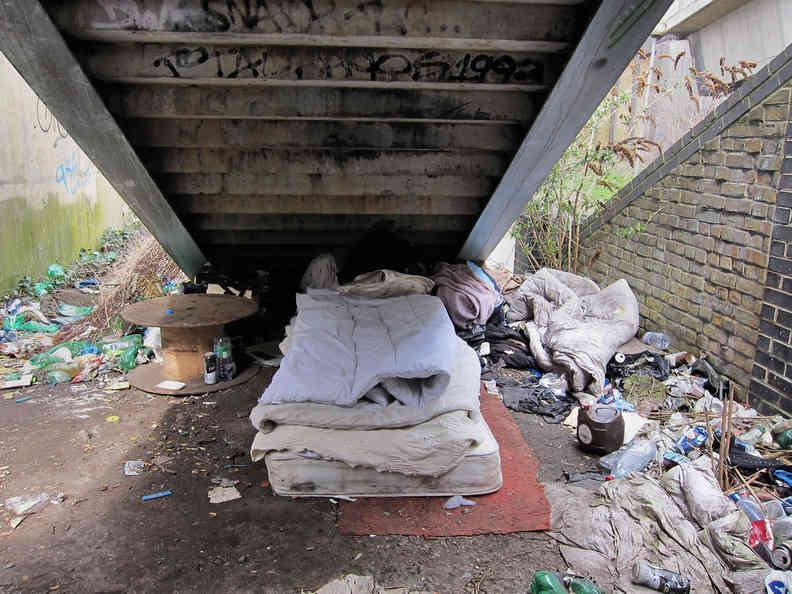 Homeless under bridge